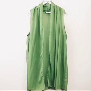Susan Graver Green Crinkle Chiffon Open Vest Large